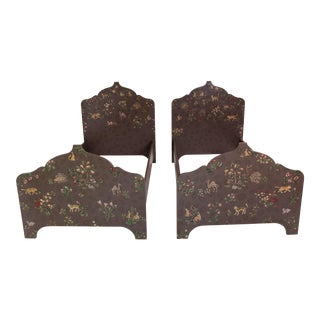 Folk Art Custom-Painted Twin Beds - a Pair For Sale