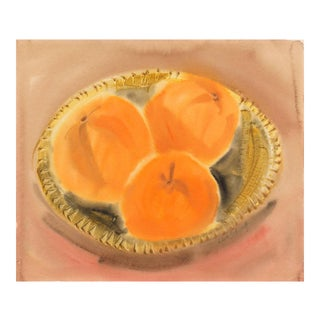 'Three Peaches', by Leah Schwartz, Post-Impressionist Woman Artist, Circa 1955 For Sale