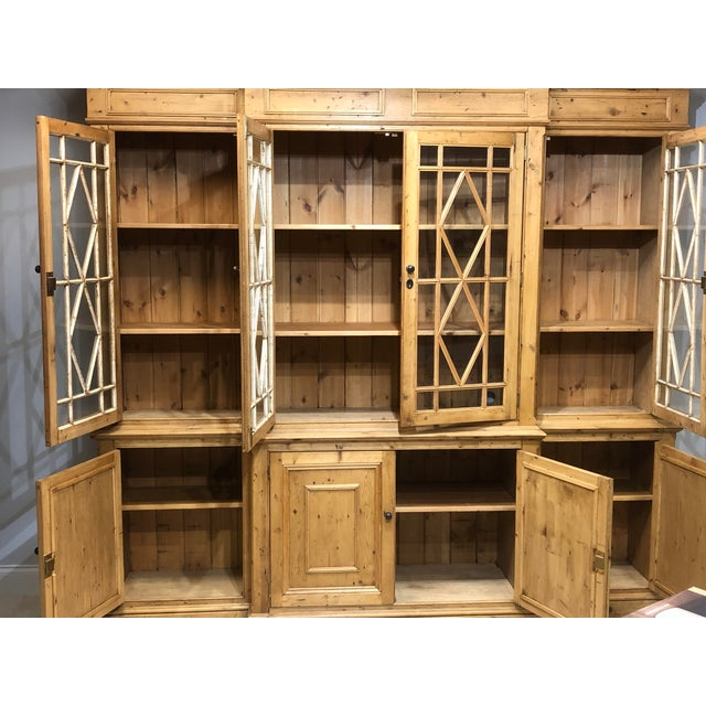2000 - 2009 Chippendale Solid Knotty Pine and Glass Breakfront Bookcase For Sale - Image 5 of 10