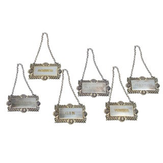 English Silver Plated Decanter Tags - Set of 6 For Sale
