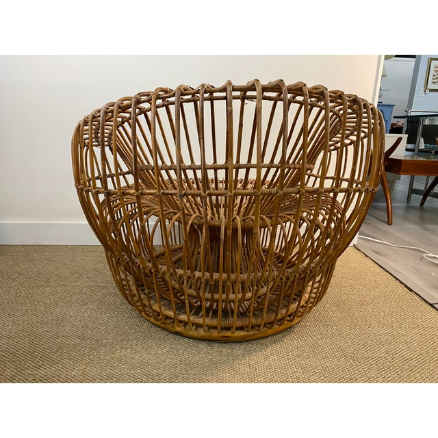 Original Franco Albini Wicker Rattan Chair and Ottoman - a Pair For Sale In New York - Image 6 of 13