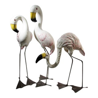Mid-Century Mexican Sergio Bustamante Style Paper Mache Flamingos- Set of 3 For Sale
