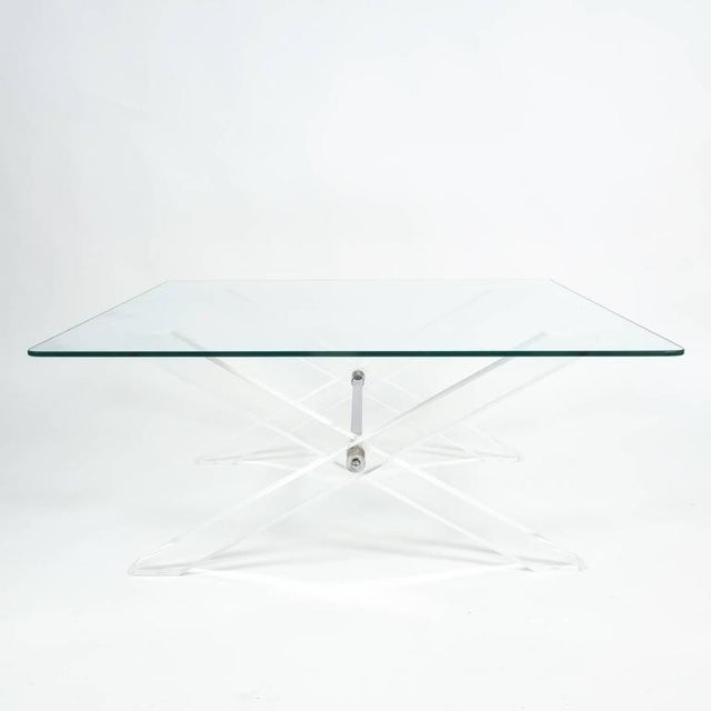 Chrome Lucite X-Frame Coffee Table, circa 1970 For Sale - Image 7 of 7