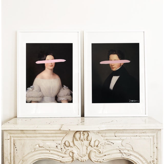 """Josh Young Design House """"Emma & Eugene - Blush"""" Mixed Media Paintings - A Pair For Sale In Chicago - Image 6 of 7"""