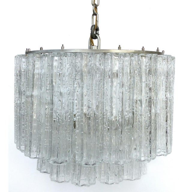 Venini Italian Mid-Century Modern Venini Blown Glass Two Tiered Chandelier For Sale - Image 4 of 12