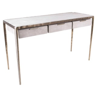 """Melting"" Writing Desk in Cream Shagreen and Bronze-Patina Brass by R&y Augousti For Sale"