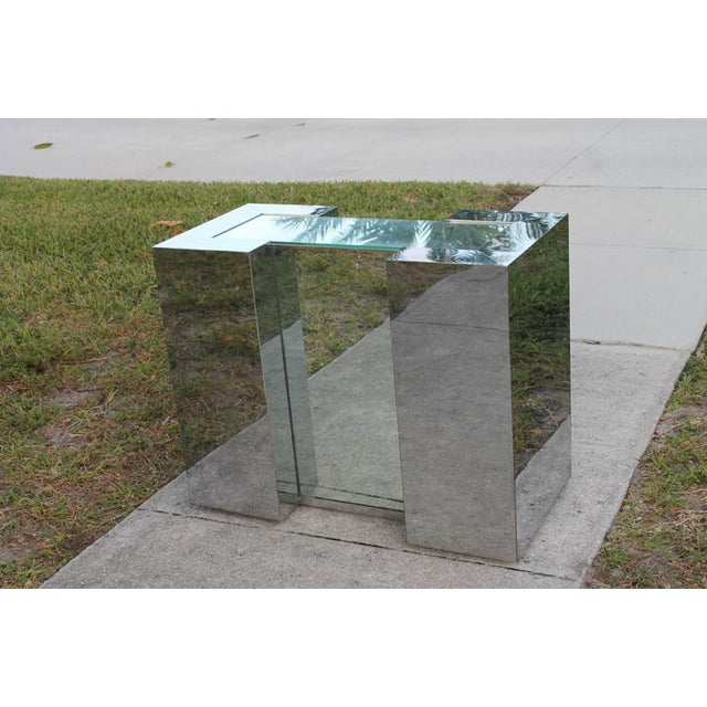 Silver Milo Baughman Style Mirrored Chrome Dining Table Base For Sale - Image 8 of 12