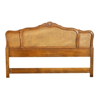 Vintage Drexel French Country Cane & Oak King Headboard For Sale