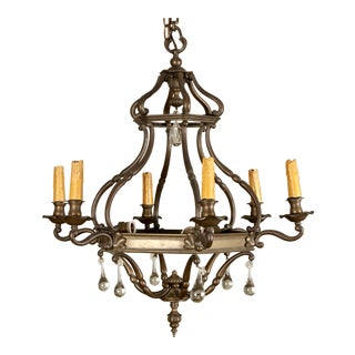 19th Century Dutch Bronze and Crystal Nine-Light Chandelier For Sale