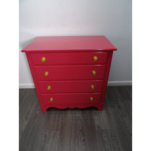"Vintage Chest of Drawers reinvented with a fresh lacquer in bold sherbet pink . The paint color is called ""Drop Dead..."