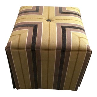 Taylor King Upholstered Striped Cube Ottomans - a Pair