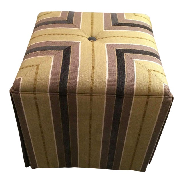 Taylor King Upholstered Striped Cube Ottomans - a Pair For Sale