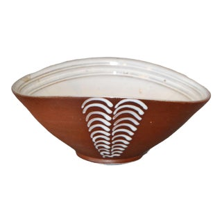 Vintage Scandinavian Modern Art Pottery Brown & White Decorative Bowl, Norway For Sale