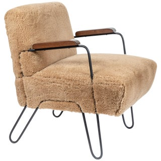 Custom-Made Midcentury Style Hairpin Chair For Sale