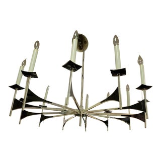Mid-Century Modern Lightolier (Sciolari or Parzinger) Chandelier Hanging Light Fixture For Sale