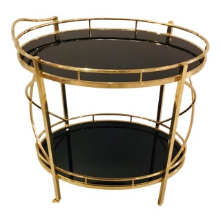 Modern Art Deco Style Black and Gold Bar Cart For Sale
