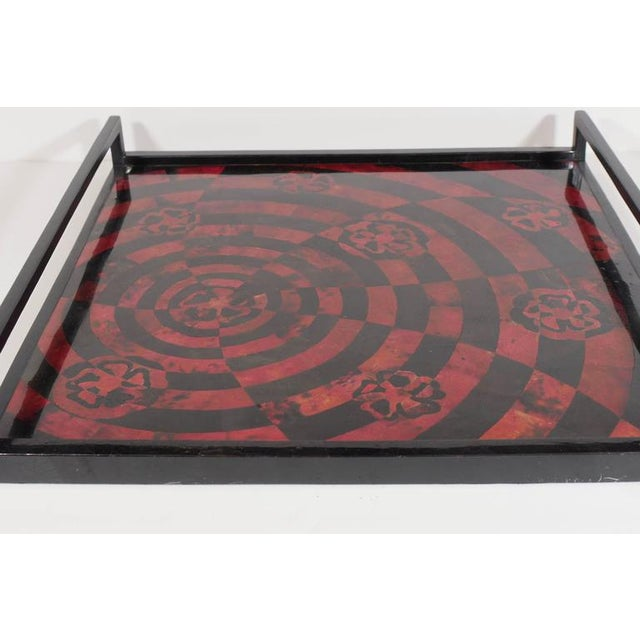 Contemporary Handcrafted Mosaic Serving Tray in Lacquered Pen Shell For Sale - Image 3 of 8