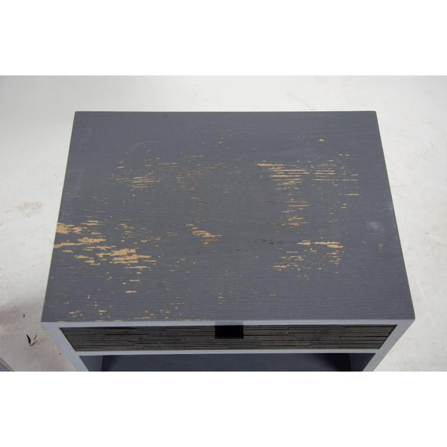 Wood 1980s Mid-Century Modern Black Glass Tile Side Tables - a Pair For Sale - Image 7 of 13