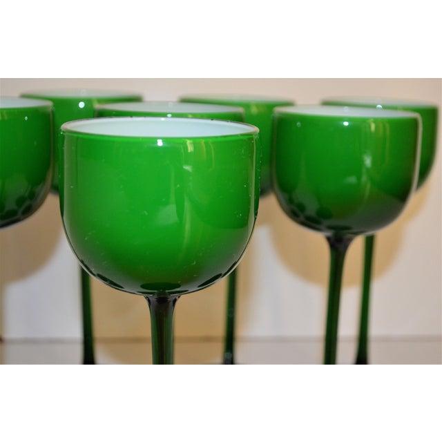 Carlo Moretti White Cased Melon Green Stemware - Set of 8 For Sale In Houston - Image 6 of 8