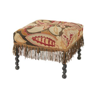 Late 19th Century English Needlepoint Stool For Sale