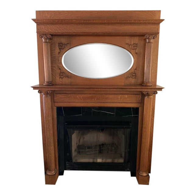 Antique Victorian Wooden Fireplace Mantel For Sale
