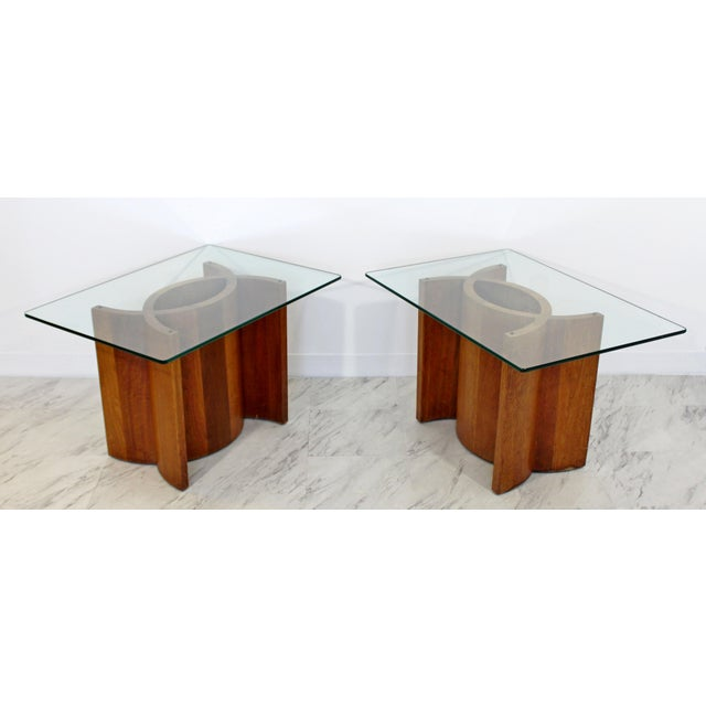 Mid-Century Modern Mid Century Modern Sculptural Wood Glass End Tables - a Pair For Sale - Image 3 of 11