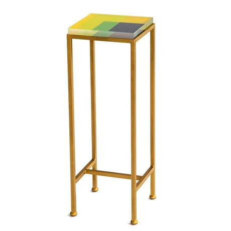 Wendy Concannon Contemporary Ellsworth Acrylic Drinks Table – Base: Gold, Top: Intersection Lime/Yellow/Midnight For Sale - Image 4 of 4