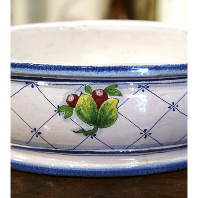 Vintage French Hand Painted Oval Dish With Handles For Sale - Image 9 of 11