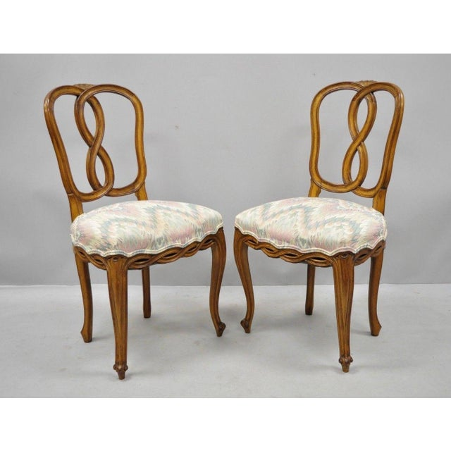 French Provincial 1950s Vintage French Provincial Pretzel Back Spiral Carved Dining Chairs- Set of 6 For Sale - Image 3 of 13