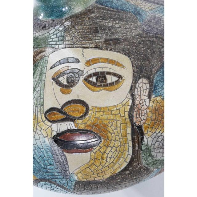 Blue Large Pablo Picasso Mosaic Ceramic Vase For Sale - Image 8 of 11