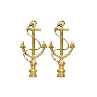 Large Brass Anchor Lamp Finials, a Pair