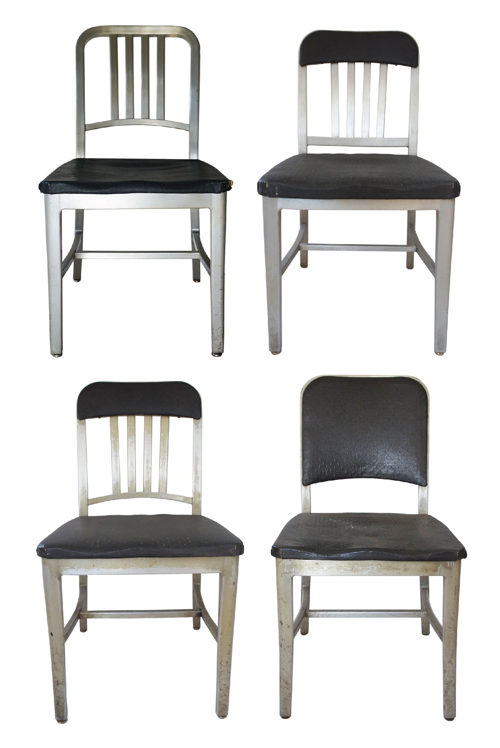 Emeco Aluminum Navy Chairs, Assorted   Set Of 4