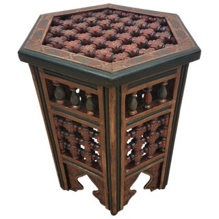 Moroccan Burgundy or Green Hexagonal Side Table For Sale