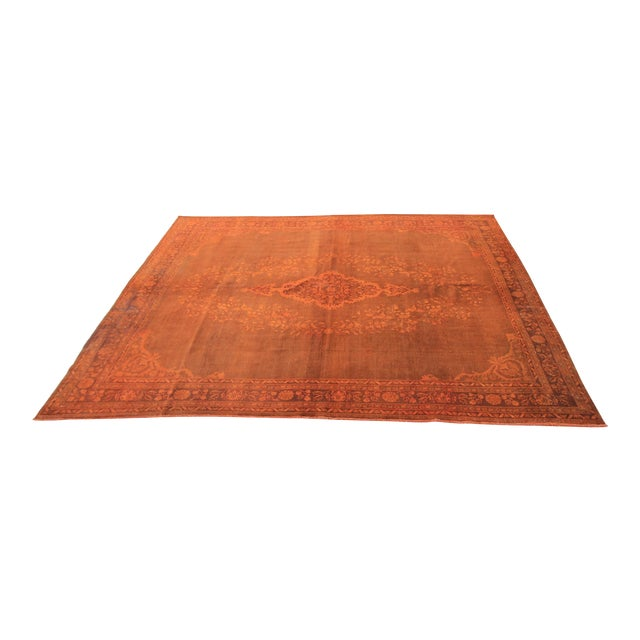 Vintage Turkish Orange Rug - 7'4 X 10'7 For Sale