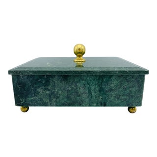 1960s Vintage Italian Modern Marble & Brass Footed Box For Sale