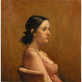 "Rubino Oil Painting ""Samantha in Pink"", Contemporary Portrait"