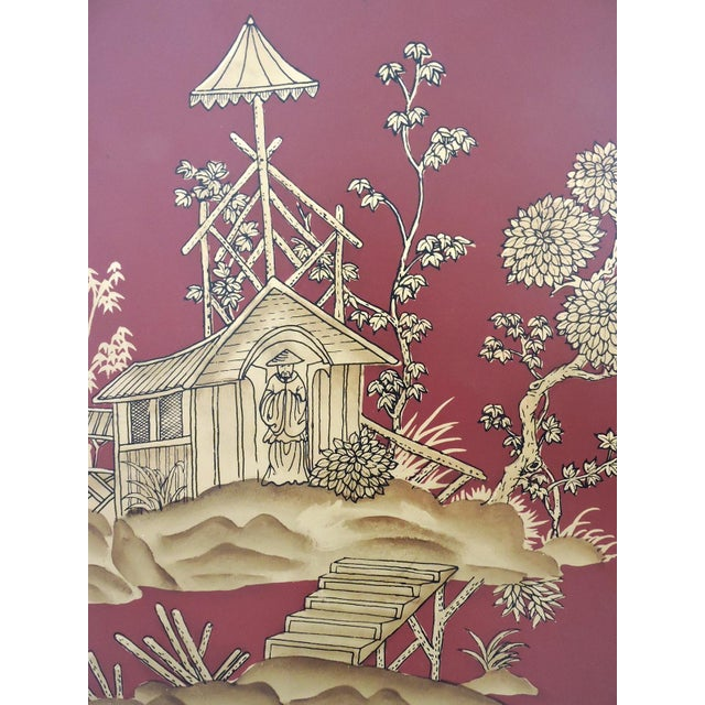 Asian Decorative Oriental Red & Gold Wall Panels - Pair For Sale - Image 3 of 5