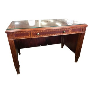 Empire Petite Tiger Wood & Mahogany Executive Desk For Sale