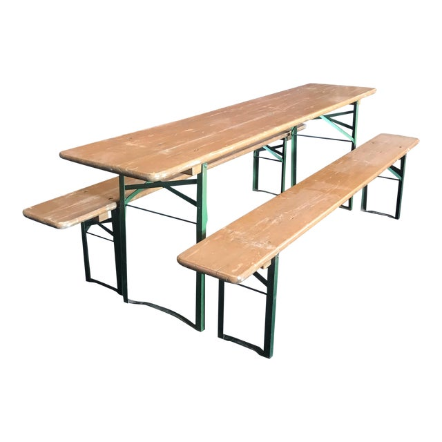 Vintage Collapsible German Beer Garden Table and Bench - a Set For Sale