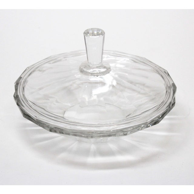 Modern Val St. Lambert Cut Glass Covered Bowl For Sale - Image 3 of 6