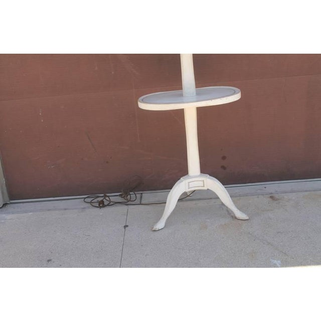Amazing White Painted Floor Lamp with Tole Painted Tin Shade For Sale - Image 9 of 10