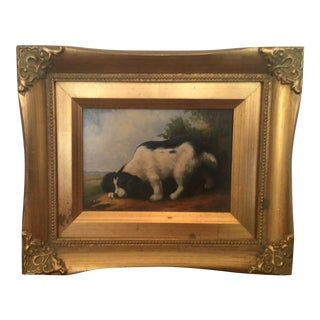 French Style Black Spaniel Painting, Framed For Sale