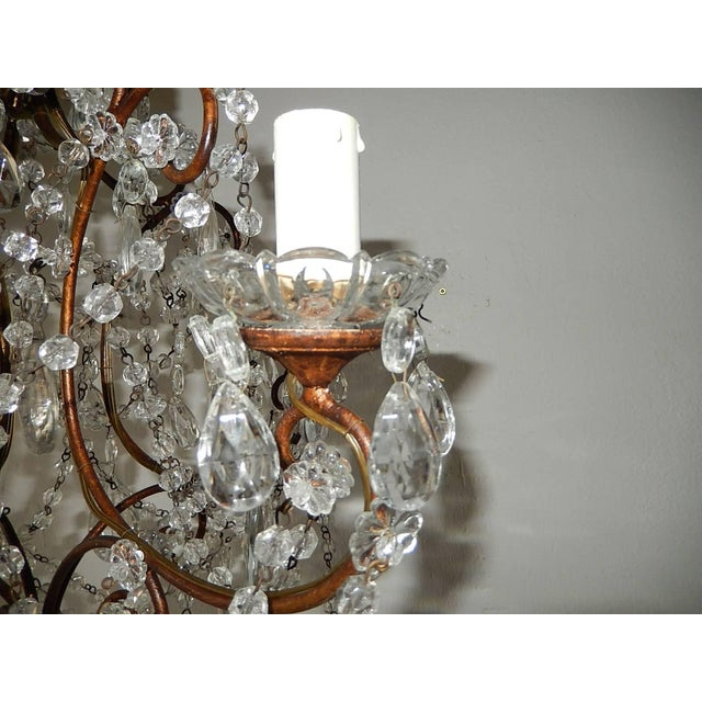 Gold 1920, French, Swags and Crystal Prisms Chandelier For Sale - Image 8 of 9
