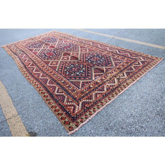 "Islamic Vintage Oushak Turkoman Persian Nomad Rug - 5'11"" x 10'6"" For Sale - Image 3 of 5"