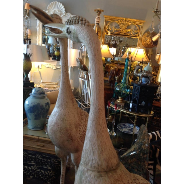 Grandly Scaled Pair of Vintage Carved Cranes For Sale In West Palm - Image 6 of 14
