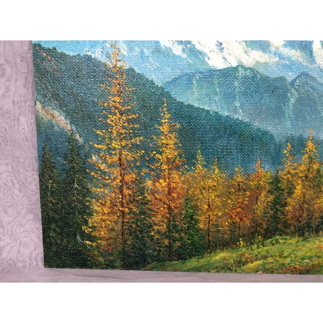 Paper Mid 20th Century Mountain Landscape Oil Painting For Sale - Image 7 of 13