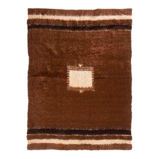 Vintage Mid-Century Brown Wool Kilim Rug - 4′5″ × 6′1″ For Sale