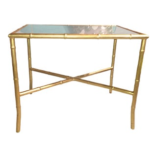 Gold Gilt Faux Bamboo and Mirror Side Table
