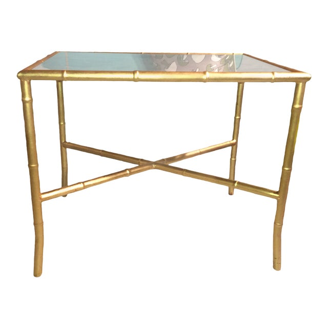 Gold Gilt Faux Bamboo and Mirror Side Table - Image 1 of 7