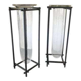 Pair of Industrial Modern Rustic Hand Blown Vases With Iron Stands For Sale